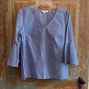 Jane and Delancey blue check gingham flare sleeve